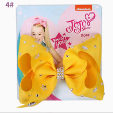 Yellow 5 inch Cartoon JoJo Siwa Hair Bow With Alligator Clip Girl Kids Bowknot