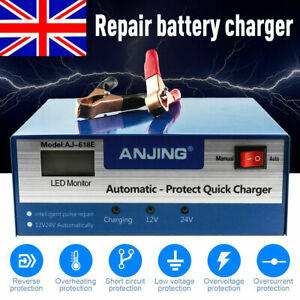 12V/24V 10A Car Battery Charger Automatic Intelligent Jump Starter Pulse Repair