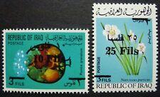 IRAK IRAQ 1975 Pflanzen Früchte Blume Blüte Aufdruck 808-809 ** MNH