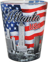 ATLANTA GEORGIA USA FLAG AND SKYLINE SHOT GLASS SHOTGLASS
