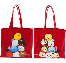 Tsum-Tsum Red Soft Canvas Reusable Shopping Bag Purse Beach Tote Disney Store