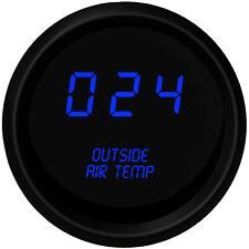 Digital OUTSIDE AIR TEMPERATURE GAUGE W/ Sender BLUE LEDs BLACK BEZEL Warranty!