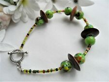 Handmade Glass Bead Bracelet ~ Green Lampwork Beads With Wooden Spacers NEW