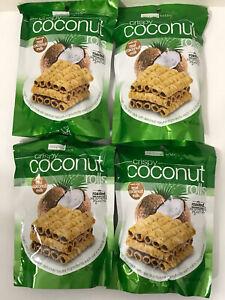 Tropical Fields Crispy Coconut Rolls Cookies 2.1 oz Bag   4 Bags