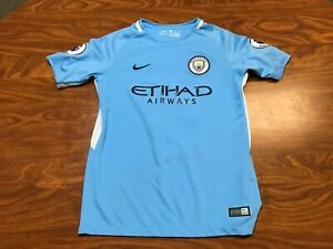 BOYS USED 2017 NIKE MANCHESTER CITY KEVIN DE BRUYNE SOCCER JERSEY YOUTH LARGE