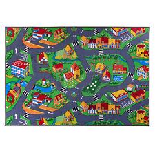 Kinderteppich ,Spielteppich, Straßenteppich, Grau Grün