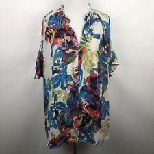 Rachel Rachel Roy XL Cold Shoulder Top Waterolor Floral V Neck Summer Blouse