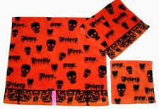 3 Betsey Johnson Skull Fear Hearts Orng Halloween Bath Hand Towel Washcloth Nwt