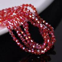 300pcs 3mm Bicone Crystal Glass Faceted Loose Spacer Beads Jewelry DIY Red AB