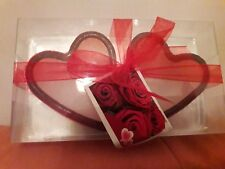 Rose scented heart candles set of 2 in a red heart shaped glass