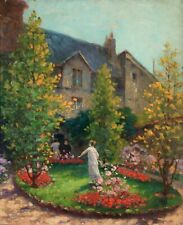 CHARLES RAMBERT (1867-1932) LARGE SIGNED SWISS RUSSIAN OIL PANEL - WOMEN FLOWERS