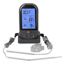Wireless Meat Food Thermometer BBQ Smoker Temperature Gauge+2 Remote Probe Black