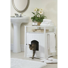 DESIGNER Pet LITTER BOX Toilet COVER Night STAND Table Cat HOUSE Dog Crate WHITE