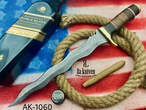 2As KNIVES GORGEOUS HANDMADE DAMASCUS STEEL HUNTING BOWIE KNIFE LEATHER SHEATH