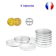 5 Capsules pour monnaie 20 mm intérieur - Protection pièce de monnaie