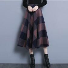 Womens Winter Mixed Color Swing Casual Skirts Warm Calf Length Dress Pleated U47