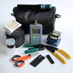 Fiber Optic FTTH Tool Kit Fiber Cleaver Power Meter 10Mw VFL Wire Cable Stripper