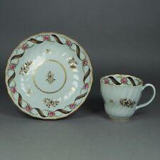 RARE 18th Siècle Anglais porcelaine floral Shanked Tasse Thé Et Soucoupe circa 1785