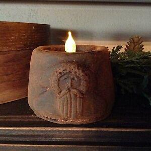 Primitive/Colonial Scented Blackened Beeswax Tealight Santa Flicker