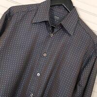 Zanella L/S Button Shirt Casual 100% Cotton Dennis Dot Pattern Men's Size M