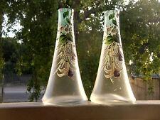 PAIR ANTIQUE GLASS VASE'S ART NOUVEA MANTEL EXQUISITE ENAMELED HP