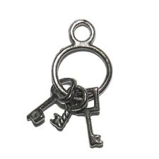 M820f Key Ring Gunmetal Finish 21mm Charm Pendant Jewelry Component 10/pkg