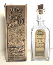 Early Bottle of Pure U.S.P. Camphorated Oil With Label and Box