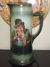 """Antique Hand Painted Tankard 11 7/8"""" High"""