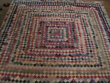 ANTIQUE OLD VINTAGE LOG CABIN PRIMITIVE POSTAGE STAMP HANDMADE COUNTRY QUILT WOW