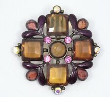VINTAGE FAUX GEMSTONE MALTESE CROSS BROOCH ~ 2""