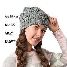 Women Girl Winter Wool Warm Slouchy Crochet Knit Cable Chunky Hat Beanie Cap