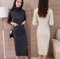Womens cashmere Long Sleeve Turtleneck long Knit Sweater Dress Pullover Knitwear