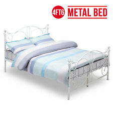 BN 4ft6 Double White Metal Bed Frame Crystal Finials Bedstead Bedroom Furniture