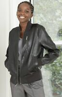 A New Day XS Bomber Jacket Black Faux Leather Women's Coat