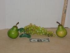 Lot of 3 Vintage Grape Cluster 2 Pear Artificial Faux Soft Rubber Plastic Fruit