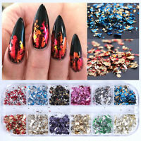 12 Colors/Box Nail Art Folie Flakies Stickers Irregular Metallisch Nagel Tips