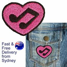 Music love heart Iron on patch - pink deco for music note melody lovers patches