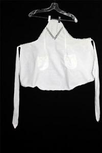 RARE FRENCH EDWARDIAN PERIOD WHITE COTTON LACE TRIMMED APRON