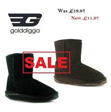 golddigga  Womens LEATHER Black/Chocolate Fur Short Boots *NEW Mix sizes