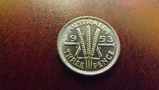 THREEPENCE 1953 UNC SCARCE WITH PLANCHET CRACK