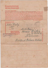 1943 Germany Buchenwald Concentration Camp Letter Cover prisoner Anton Vostry