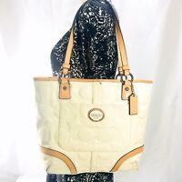 Coach Peyton Patent Leather Embossed Logo Cream Ivory Tote Sholder Purse Bag
