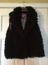 BETSEY JOHNSON Vest Black Faux Fur Size Medium Leopard Lined Soft! Fun!