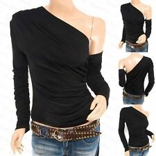 One Shoulder Patternless Blouses for Women