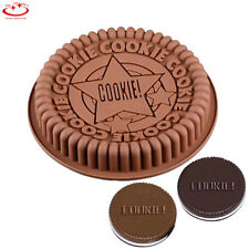"9"" Large Size Round Oreo Cookie Mold Silicone Cake Mold Pan Pizza Tray Bakeware"