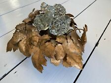 Vintage 1960s 60s French Ceiling Light Table Gold Leaves Glass Grapes Metal Wall