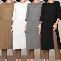 Womens Cotton Linen Long Sleeve Plain Cheongsam Blouse Shirt Tops Midi Dress