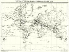 WORLD. indicativo internazionale di servizio telefonico 1938 vecchio vintage carta piano grafico