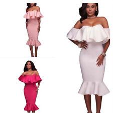 Womens Off Shoulder Bardot Midi Dress Ladies Peplum Ruffle Frill Bandage Bodycon