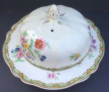 Johnson Brothers Old Staffordshire Green Edge Floral Round Covered Butter Dish